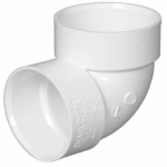 Plastic Pipe Fitting, DWV  Vent Elbow, 90 Degree, PVC, 3-In.