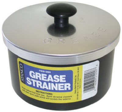 STANCO METAL PROD Grease Strainer Cup & Lid, Aluminum, 40-oz. GS-1200