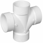 Pipe Fitting, PVC Double Sanitary Tee, 3-In.