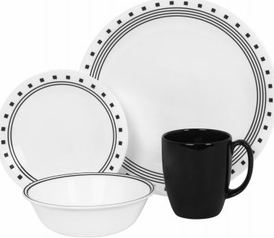 ... Of Durable Vitrelle Glass Lightweight Stackable Microwave Dishwasher Safe Oven Safe To 350 Degrees Metal Mark/Scratch/Stain/Break/Chip Resistant.  sc 1 st  Midland Hardware & Corelle Block Dinnerware Set 16 Piece 1074208