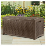 Deck Storage Box, Java Wicker-Look Resin, 46 x 21.6 x 22.5-In., 73-Gals.