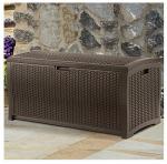 Deck Storage Box, Brown Wicker-Look Resin, 50 x 25.6 x 25.5-In., 99-Gals.