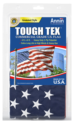ANNIN FLAGMAKERS Tough Tex U.S. Flag, 2-Ply Polyester, 4 x 6