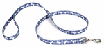 Dog Leash, Plaid/Bones, Blue Nylon, 3/8-In. x 6-Ft.