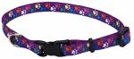 Dog Collar, Adjustable, Paws, Nylon, 1 x 18-26-In.