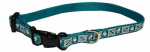 Dog Collar, Reflective, Adjustable, Teal, 3/8 x 8-12-In.