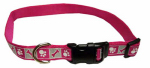 Dog Collar, Reflective, Adjustable, Pink Flamingo, 5/8 x 12-18-In.
