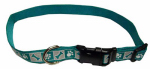 Dog Collar, Reflective, Adjustable, Teal, 5/8 x 12-18-In.