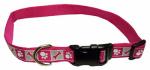 Dog Collar, Reflective, Adjustable, Pink Flamingo, 1 x 18-26-In.