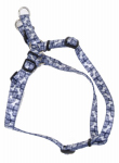 Dog Harness, Adjustable, Plaid Bones, Nylon, 5/8 x 16-24-In.