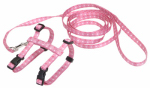 Cat Harness/Leash, Pink Dot, Nylon