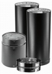 DVL Close Clearance Stove Pipe Connector Kit, Black Double-Wall Stainless Steel, 6-In.