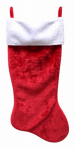 Christmas Stocking, Red & White Plush, 35-In.