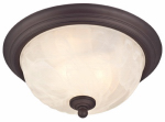 Ceiling Light Fixture, Outdoor, Oil Rubbed Bronze & White Alabaster Glass, 60-Watt, 11 x 6-In.