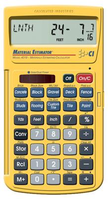 CALCULATED INDUSTRIES INC Material Estimator Calculator 4019