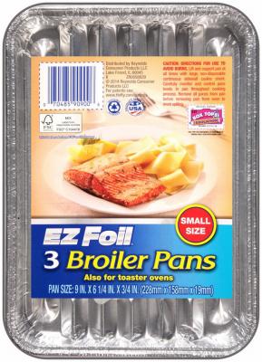 "9/"" x 6.25/""  Aluminum foilware EZ Foil Miracle Broiler Pans Grease Absorbing 4"