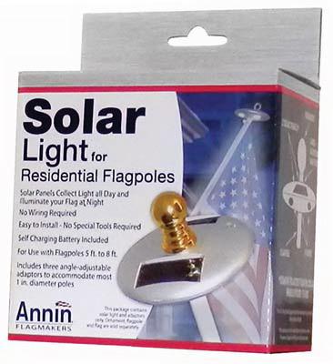 ANNIN FLAGMAKERS Flag Pole Solar Light, Mini, Silver 752250