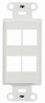 Outlet Strap, 4-Port, Decorator White