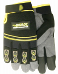 Max Performance Work Gloves, PVC Palm With Gel Insert, Black & Gray, Men's XL