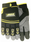Max Performance Work Gloves, Synthetic Palm With Gel Insert, Black & Gray, Men's Medium