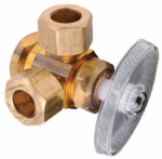 Dual Outlet Stop Valve, Lead-Free Brass, 1/2 FIP x 1/2 x 1/2-In. O.D. Compression