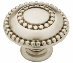 Cabinet Knob, Double Beaded, Satin Nickel, 1-3/8-In.