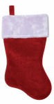 Christmas Stocking, Red Plush, 17.5-In.