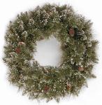 Artificial Christmas Wreath, Glittery Bristle Pine, 24-In.
