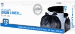 Drum Liner Trash Bags, Wing Tie, Black, 55-Gal., 12-Ct.