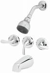 Shower Faucet, Non-Pressure Balancing, 3-Handle, Chrome