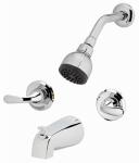 Shower / Tub Faucet + Showerhead, Non-Pressure Balancing, 2-Handle, Chrome