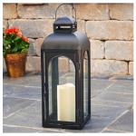 LED Patio Lantern, Moroccan, Black Metal, 17-In.