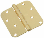 Door Hinge, Interior, Round-Edge, Satin Brass, 4-In.