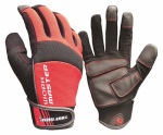 Work Master High-Performance Work Gloves, Touchscreen Compatible, Black & Red Microfiber Suede, Large