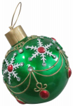 Oversized Christmas Ornament, LED Lights, Green, 17-In.
