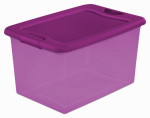 Storage Box With Latch Lid, Pink, 64-Qts., Must Purchase in Quantities of 6