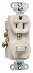 Switch & Outlet, Single-Pole, Light Almond, 15-Amp, 120-Volt
