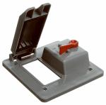 GFCI & Toggle Switch Box Cover, PVC, 2-Gang