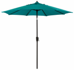 Patio Market Umbrella, Crank Open, Steel Frame, Teal Polyester, 9-Ft.