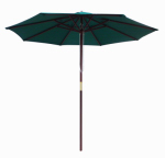 Patio Market Umbrella, Pulley Open, Wood & Hunter Green Polyester, 9-Ft.