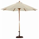 Patio Market Umbrella, Pulley Open, Wood & Beige Polyester, 9-Ft.