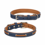 Deck Dog Collar, Coral & Natural Leather, 1 x 23-In.