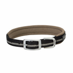 Terrain Reflective Lined Dog Collar, Black Nylon, 15-In.