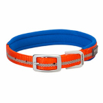 Terrain Reflective Lined Dog Collar, Orange Nylon, 15-In.