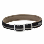 Terrain Reflective Lined Dog Collar, Black Nylon, 23-In.