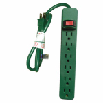 Power Strip, 6-Outlet, Green