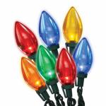 Christmas LED Light Set, C9, Multi Transparent, 25-Ct.