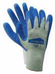 Work Gloves, Latex Coated Palm, Blue, Small