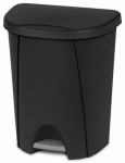 Step-On Wastebasket, Black, 6.6-Gal., Must Purchase in Quantities of 4