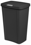 Kitchen Wastebasket, Touch Top, Black, 13-Gal., Must Purchase in Quantities of 4